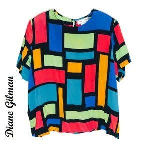 Diane Gilman 100% Silk Blouse Sz 2X